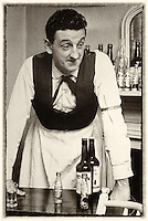 John B Keane as a barman in an acting role with The Listowel Players in the 1960's..Picture by Harry MacMonagle.Photo macmonagle archive