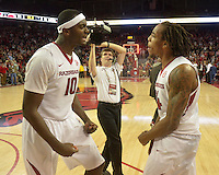 NWA Democrat-Gazette/Michael Woods --01/06/2015--w@NWAMICHAELW... University of Arkansas forward Bobby Portis (10) and Michael Qualls celebrate after the Razorbacks 93-91 overtime victory over Alabama during Thursday nights game at Bud Walton Arena in Fayetteville.