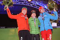 SCHAATSEN: AMSTERDAM: Olympisch Stadion, 28-02-2014, KPN NK Sprint/Allround, Coolste Baan van Nederland, podium Dames Sprint 1000m, Lotte van Beek, Ireen Wüst, Margot Boer, ©foto Martin de Jong