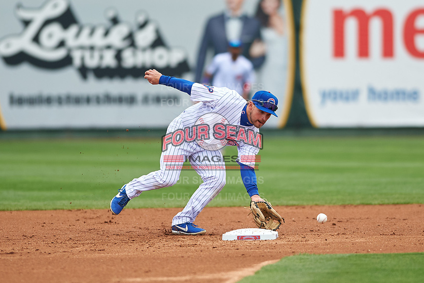 South Bend Cubs second baseman Levi Jordan (5) fields a ground ball during a Midwest League game against the Cedar Rapids Kernels at Four Winds Field on May 8, 2019 in South Bend, Indiana. South Bend defeated Cedar Rapids 2-1. (Zachary Lucy/Four Seam Images)