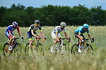 The breakaway group featuring Nikita Stalnov (KAZ) Astana Pro Team, Pierre-Luc Perichon (FRA) Fortuneo-Samsic, Frederik Backaert (BEL) Wanty-Groupe Gobert and Antoine Duchesne (CAN Groupama-FDJ in action during Stage 2 of the 2018 Criterium du Dauphine 2018 running 181km from Montbrison to Belleville, France. 5th June 2018.<br /> Picture: ASO/Alex Broadway | Cyclefile<br /> <br /> <br /> All photos usage must carry mandatory copyright credit (&copy; Cyclefile | ASO/Alex Broadway)