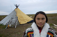Nenets reindeer herders Chum tent, Vaigatch Island, Siberia, Russia, Arctic