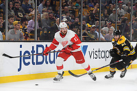 September 26, 2018: Detroit Red Wings defenseman Filip Hronek (17) and Boston Bruins right wing Jordan Szwarz (21) play for the puck behind the net during the NHL pre-season game between the Detroit Red Wings and the Boston Bruins held at TD Garden, in Boston, Mass. Detroit defeats Boston 3-2 in overtime. Eric Canha/CSM