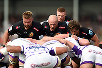 The Exeter Chiefs front row of Tomas Francis, Jack Yeandle and Alec Hepburn prepare to scrummage. Gallagher Premiership match, between Exeter Chiefs and Leicester Tigers on September 1, 2018 at Sandy Park in Exeter, England. Photo by: Patrick Khachfe / JMP