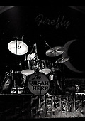 URIAH HEEP - drummer Lee Kerslake - performing live at The Rainbow Theatre in London UK - 06 Mar 1977.  Photo credit: George Bodnar Archive/IconicPix