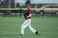 Iona Gaels right fielder Seth Hoagland (1) throws the ball back to the infield during the game against the Rutgers Scarlet Knights at City Park on March 8, 2017 in New Rochelle, New York.  The Scarlet Knights defeated the Gaels 12-3.  (Brian Westerholt/Four Seam Images)