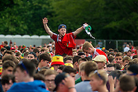 Wales supporters celebrate their team's win