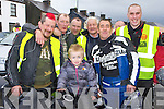 Little Jerry O'Connor tests the motorbike surrounded by l-r: Anthony O'Connor, James Egan, John Moloney, John, Timmy O'Connor, Maurice McAulliffe at the Motor bike run in aid of Crumlins Children Hospital in Castleisland on Saturday..