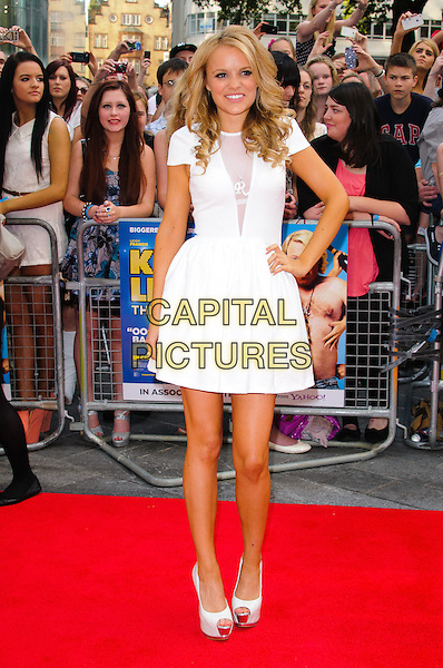 Rosie Parker.World Premiere of 'Keith Lemon: The Film' at the Odeon West End, Leicester Square, London, England..August 20th 2012.full length white dress hand on hip peep toe shoes.CAP/CJ.©Chris Joseph/Capital Pictures.