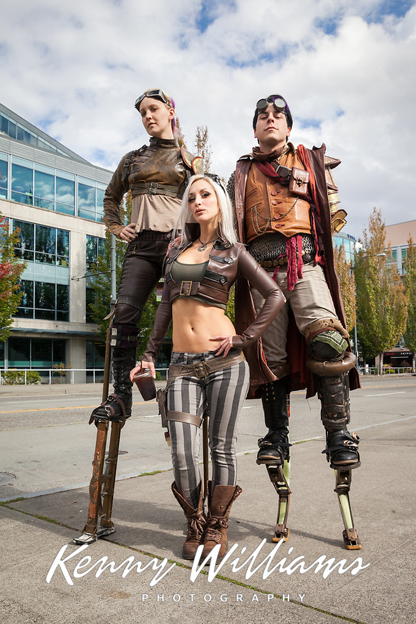 Beautiful Steampunk Kato and friends on stilts, Steamposium Seattle 2015, Washington State, WA, America, USA.
