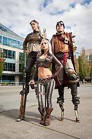 Beautiful Steampunk Kato and friends on stilts, Steamposium Seattle 2015, Washington State, WA, America, USA.
