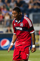 Sherjill MacDonald (7) of the Chicago Fire reacts to missing a scoring opportunity. The Chicago Fire defeated the Philadelphia Union 3-1 during a Major League Soccer (MLS) match at PPL Park in Chester, PA, on August 12, 2012.
