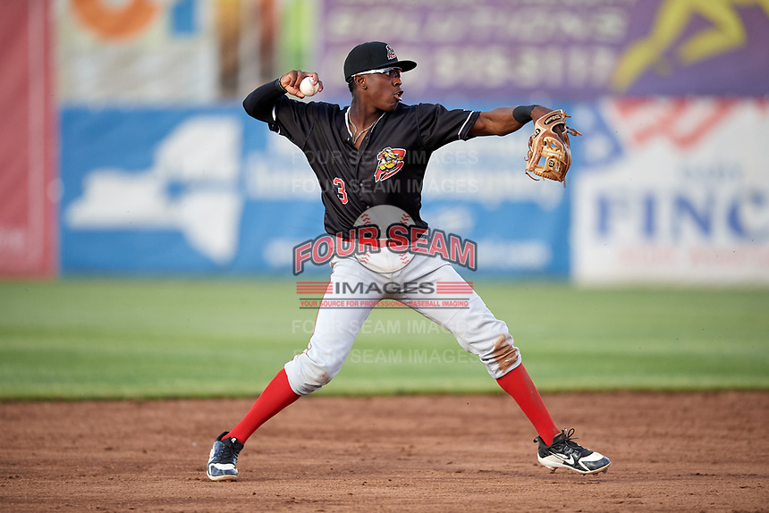 Batavia Muckdogs shortstop Demetrius Sims (3) throws to first base during a game against the Auburn Doubledays on June 15, 2018 at Falcon Park in Auburn, New York.  Auburn defeated Batavia 5-1.  (Mike Janes/Four Seam Images)