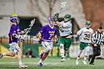 6 April 2019:  University of Vermont Catamount Face Off Specialist Alex Semler, a Sophomore from West Palm Beach, FL, in action against the University at Albany Great Danes on Virtue Field in Burlington, Vermont. The Cats rallied to defeat the Danes 10-9 in America East divisional play. Mandatory Credit: Ed Wolfstein Photo *** RAW (NEF) Image File Available ***