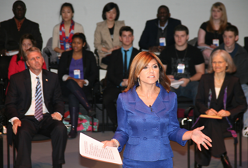 Gubernatorial Debate in October 2010. Governor Deval Patrick and other candidates came to Emerson. Maria Stephanos, alumnus, moderated.