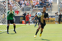 Michael Orozco Fiscal (16) of the Philadelphia Union runs down a ball as goalkeeper Chris Seitz (1) yells instructions. The Philadelphia Union defeated Toronto FC 2-1 on a second half stoppage time goal during a Major League Soccer (MLS) match at PPL Park in Chester, PA, on July 17, 2010.