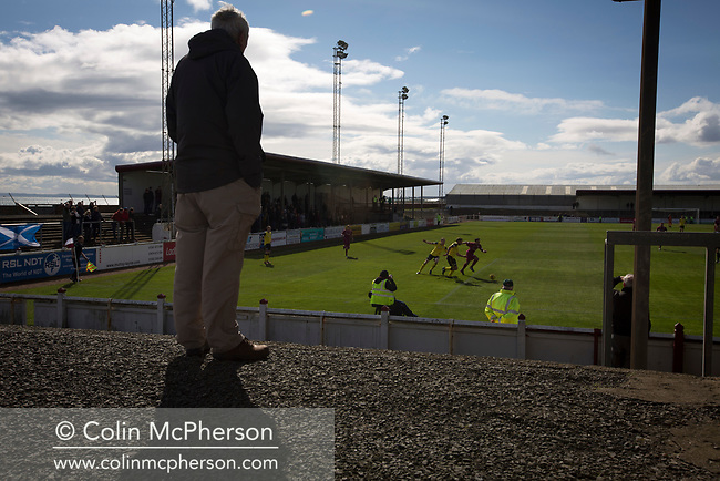 Home fans watching the action during the first-half at Gayfield Park as Arbroath hosted Edinburgh City (in yellow) in an SPFL League 2 fixture. The newly-promoted side from the Capital were looking to secure their place in SPFL League 2 after promotion from the Lowland League the previous season. They won the match 1-0 with an injury time goal watched by 775 spectators to keep them 4 points clear of bottom spot with three further games to play.
