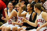 02/11/11--Clackamas' Mackenzie Owens (20), Natalie Myers, Brie Aguon and Kaitlyn Reiner celebrate the Cavaliers' 64-48 win over Oregon City who clinched their first league title since 1981..Photo by Jaime Valdez