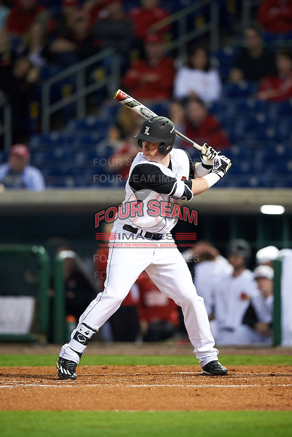 Louisville Cardinals first baseman Brendan McKay (38) at bat during a game against the Maryland Terrapins on February 18, 2017 at Spectrum Field in Clearwater, Florida.  Louisville defeated Maryland 10-7.  (Mike Janes/Four Seam Images)