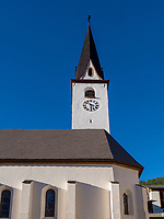 Kirche, Historisches Dorf Ardez, Scuol, Unterengadin, Graub&uuml;nden, Schweiz, Europa<br /> Church in Historic village Ardez, Scuol, Engadine, Grisons, Switzerland