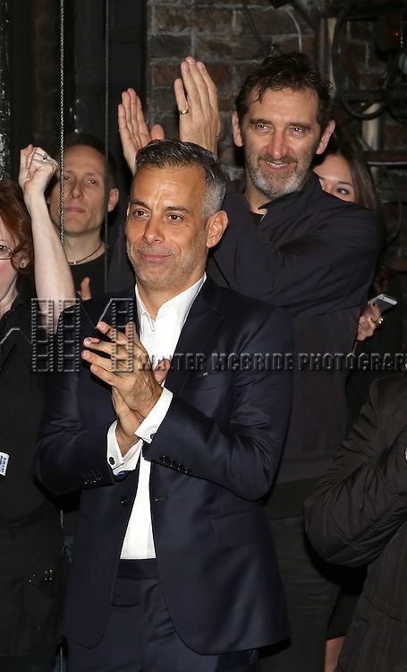 Joe Mantello and Jimmy Nail during the Broadway Opening Night Gypsy Robe Ceremony Celebrating Jeremy Davis for 'The Last Ship' at the Neil Simon Theatre on October 26, 2014 in New York City.