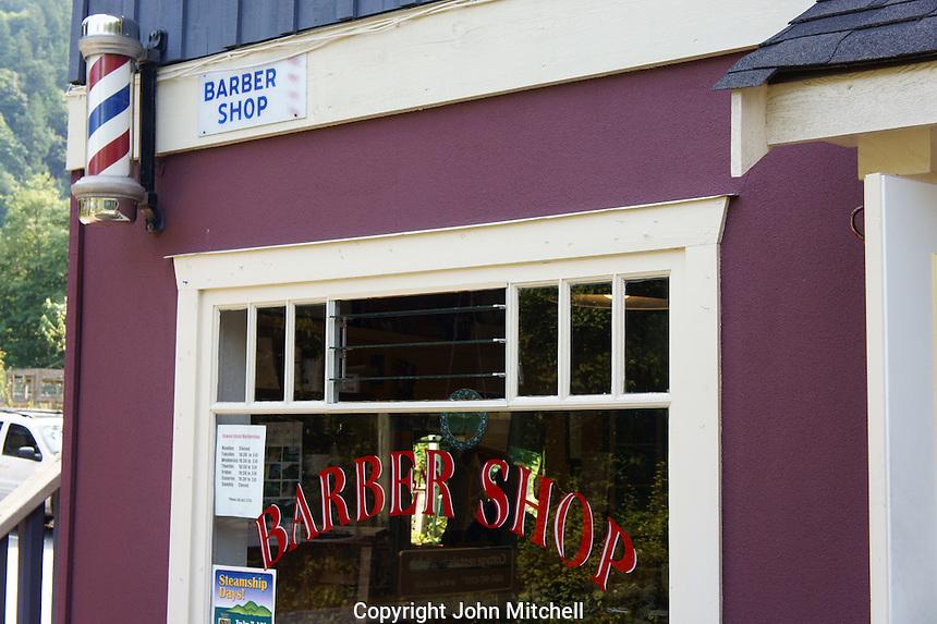 Old fashioned barber shop in Snug Cove, Bowen Island, British Columbia, Canada