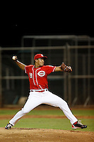 Franderlin Romero #19 of the AZL Reds pitches against the AZL Padres at the Cincinnati Reds Spring Training Complex on July 13, 2013 in Goodyear, Arizona. AZL Reds defeated the AZL Padres, 11-10. (Larry Goren/Four Seam Images)