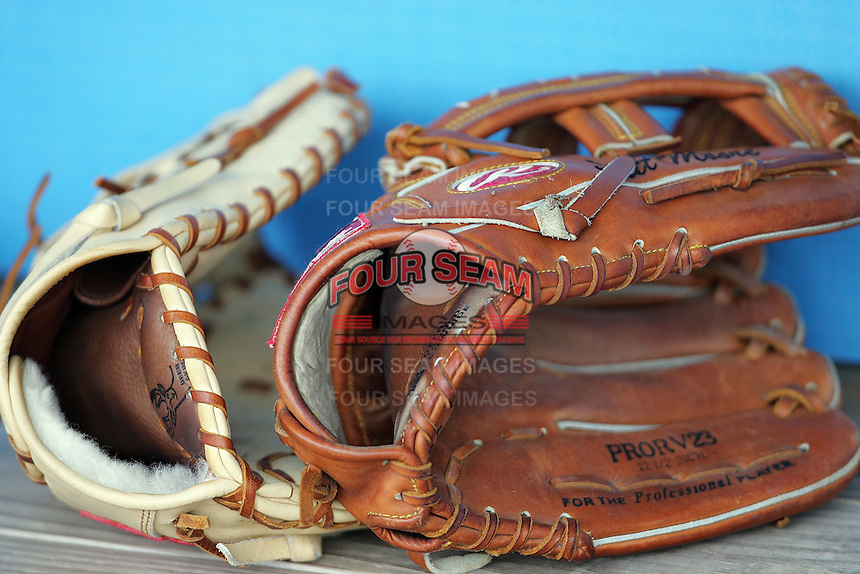 Baseball gloves. Photo by Andrew Woolley / Four Seam Images.