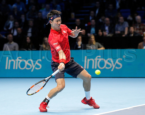 18.11.2016. The O2, London, England. ATP Tour Tennis Finals, Day Six.  Marin Cilic (CRO) defeats  Nishikori (JPN) by a score 3-6,6-2,6-3 during day 6 at Barclays ATP World Tour Finals from the O2 Arena.