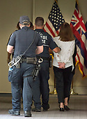 An unidentified demonstrator is led away after being arrested by United States Capitol Police in the Hart Senate Office Building as she protests against the Republican bill to replace the Affordable Care Act (ACA), also known as Obamacare, in the United States Senate Office Buildings on Capitol Hill in Washington, DC on Wednesday, July 19, 2017. <br /> Credit: Ron Sachs / CNP<br /> (RESTRICTION: NO New York or New Jersey Newspapers or newspapers within a 75 mile radius of New York City)