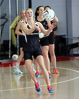 18.10.2015 Silver Ferns Shannon Francois trains for their upcoming netball test match against Australia in Christchurch. Mandatory Photo Credit ©Michael Bradley.