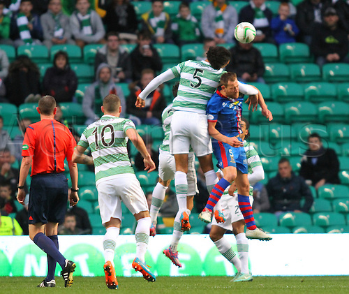 01.11.2014.  Glasgow, Scotland. Scottish Premier League. Celtic versus Inverness Caledonian Thistle. Virgil van Dijk clears in the air