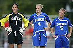 07 October 2007: Duke's Allison Lipsher (1), Gretchen Miller (4), Jane Alukonis (5). The Duke University Blue Devils defeated the North Carolina State University Wolfpack 1-0 at Method Road Soccer Stadium in Raleigh, North Carolina in an Atlantic Coast Conference NCAA Division I Women's Soccer game.