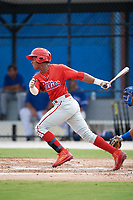 Philadelphia Phillies Malvin Matos (39) follows through on a swing during an Instructional League game against the Toronto Blue Jays on October 7, 2017 at the Englebert Complex in Dunedin, Florida.  (Mike Janes/Four Seam Images)