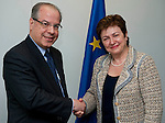 Brussels-Belgium, May 11, 2012 -- Kristalina GEORGIEVA (ri), European Commissioner in charge of International Cooperation, Humanitarian Aid and Crisis Response, receives Ricardo NEIVA TAVARES (le), Brazilian Ambassador to the EU -- Photo: © HorstWagner.eu