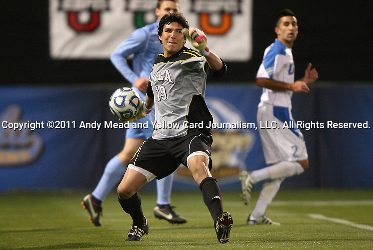 09 December 2011: UCLA's Brian Rowe (19). The University of California Los Angeles Bruins played the University of North Carolina Tar Heels to a 2-2 tie after overtime, with the Tar Heels advancing with a 3-1 win in the penalty kick shootout at Regions Park in Hoover, Alabama in an NCAA Division I Men's Soccer College Cup semifinal game.