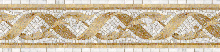 """9 3/4"""" Antoinette border, a hand-cut stone mosaic, shown in polished Giallo Reale, Renaissance Bronze, Calacatta Tia, and Jerusalem Gold."""