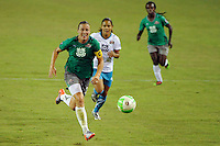 Abby Wambach (20) of Abby XI brings the ball upfield during the Women's Professional Soccer (WPS) All-Star Game at KSU Stadium in Kennesaw, GA, on June 30, 2010.