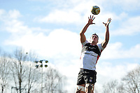 Francois Louw of Bath Rugby rises high to win lineout ball. Bath Rugby Captain's Run on February 19, 2016 at the Recreation Ground in Bath, England. Photo by: Patrick Khachfe / Onside Images