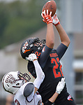 Wesclin wide receiver Josh Serrano (right) pulls in a touchdown pass in the end zone as Dupo's Jacob Potts tries to break up the play. Wesclin defeated Dupo 34-30 on Saturday August 31, 2019 in a game that was stopped Friday night at halftime due to storms. <br /> Tim Vizer/Special to STLhighschoolsports.com