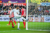 Ashley Williams of Swansea City  reacts by kicking the goal during the Barclays Premier League match between Swansea City and Southampton  played at the Liberty Stadium, Swansea  on February 13th 2016