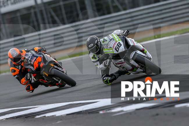 Tom Neave (68) of the BSB Muvuno.com Halsall Racing (Suzuki) race team ahead of Gino REA (44) of the BSB OMG Racing UK LTD (Suzuki) race team during Free Practice 2 at Round 9 of the 2018 British Superbike Championship at Silverstone Circuit, Towcester, England on Friday 7 September 2018. Photo by David Horn.