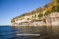 64745-00205 Pictured Rocks National Lakeshore in fall from Lake Superior near Munising MI