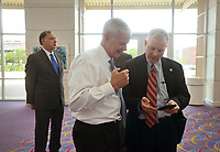 NWA Democrat-Gazette/BEN GOFF @NWABENGOFF<br /> Tim Griffin (right), Arkansas Lieutenant Governor, and U.S. Rep. Steve Womack (R-Ark.) exchange chat Thursday, April 20, 2017, while attending the second installment of the Winthrop Paul Rockefeller Distinguished Lecture Series presented by the United States Marshals Museum at the Fort Smith Convention Center in Fort Smith.