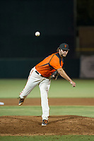 AZL Giants relief pitcher Reagan Bazar (46) follows through on his delivery against the AZL Athletics on August 5, 2017 at Scottsdale Stadium in Scottsdale, Arizona. AZL Athletics defeated the AZL Giants 2-1. (Zachary Lucy/Four Seam Images)