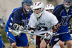 Los Angeles, CA 02/18/11 - Corey Gunderson (BYU #17) and Peter Fox (LMU #32) in action during the Loyola Marymount - BYU game at LMU.