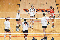 SAN ANTONIO, TX - SEPTEMBER 21, 2012: The Texas State University Bobcats versus The University of Texas at San Antonio Roadrunners Volleyball at the UTSA Convocation Center. (Photo by Jeff Huehn)