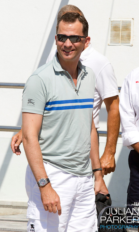 Crown Prince Felipe of Spain arrives at The Royal Yacht Club, in Palma, Mallorca..to compete in the first day of the Copa Del Rey sailing regatta