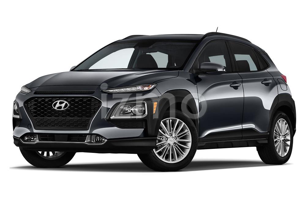Stock pictures of low aggressive front three quarter view of a 2019 Hyundai Kona SEL AUTO 5 Door SUV