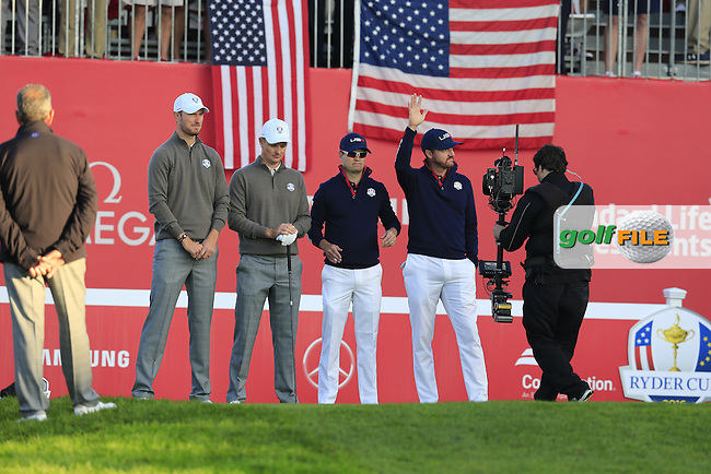 Chris Wood and Justin Rose (ENG) Team Europe play Zach Johnson and Jimmy Walker US Team on the 1st tee to start Saturday Morning Foursomes Matches of the 41st Ryder Cup, held at Hazeltine National Golf Club, Chaska, Minnesota, USA. 1st October 2016.<br /> Picture: Eoin Clarke | Golffile<br /> <br /> <br /> All photos usage must carry mandatory copyright credit (&copy; Golffile | Eoin Clarke)